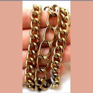 """VNTG Signed Lisner Gold Tone 3 Chain 7.5"""" Bracelet"""